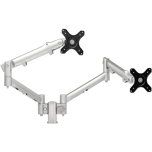 "Atdec SYSTEMA 26"" Dual Monitor Spring Arms with 3.9"" Post Desk Mount (Silver)"