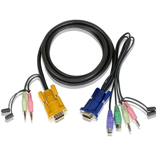 ATEN 2L-5302P SPHD-15 to VGA, PS/2, and Audio KVM Cable (6')