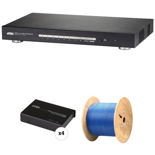 ATEN 8-Port HDMI Splitter with 4 HDBaseT Receivers & 1000 ft Cat6 Spool Kit