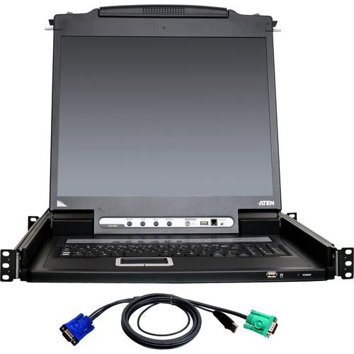 ATEN 8-Port PS/2-USB VGA LCD KVM over IP Switch Kit with 8 USB KVM Cables