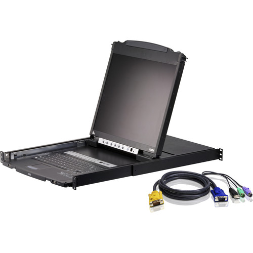 "ATEN CL5808NCKIT 8-Port 19"" Dual Rail LCD KVM Kit with Eight Cables"