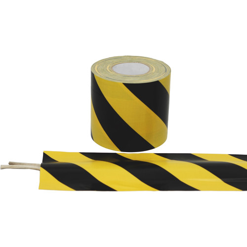 """Atlas Adhesive Tape Cable Zone Tape with Glossy Finish (3"""" x 40 yd, Black and Yellow)"""