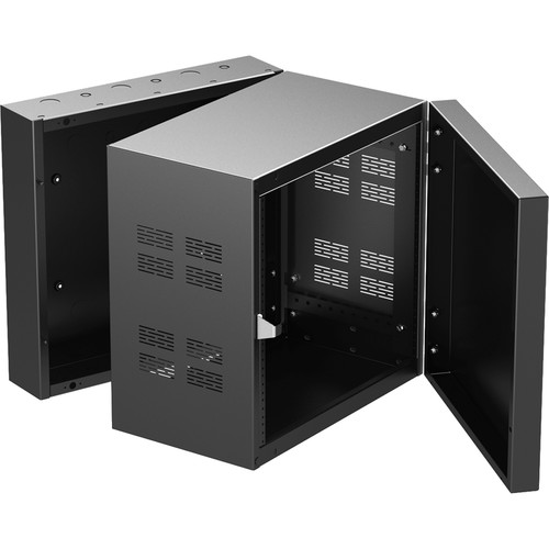 """Atlas Sound 19"""" Wide Opening Stand-Alone Wall Cabinet With Adjustable Rails - 10 Rack Unit"""