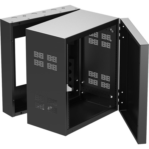 """Atlas Sound 19"""" Wide Opening Stand-Alone Wall Cabinet With Adjustable Rails - 12 Rack Unit"""