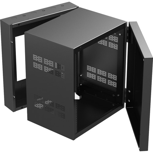 """Atlas Sound 19"""" Wide Opening Stand-Alone Wall Cabinet With Adjustable Rails, 15""""D Center Section - 12 Rack Unit"""