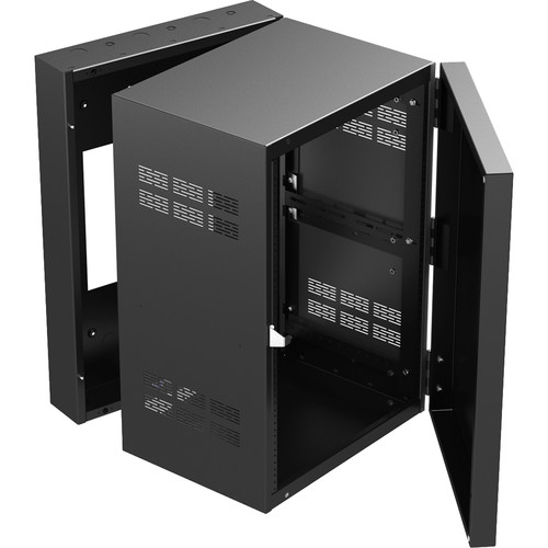 """Atlas Sound 19"""" Wide Opening Stand-Alone Wall Cabinet With Adjustable Rails, 15""""D Center Section - 16 Rack Unit"""