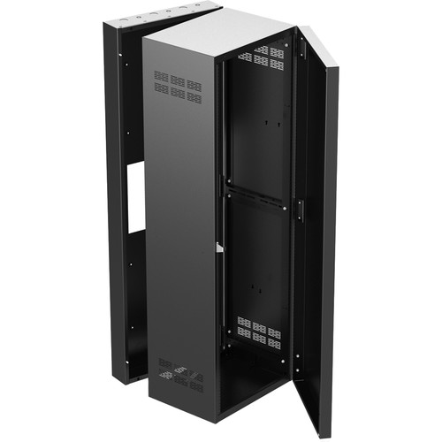 """Atlas Sound 19"""" Wide Opening Stand-Alone Wall Cabinet With Adjustable Rails, 15""""D Center Section - 35 Rack Unit"""