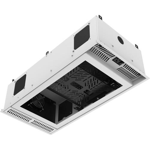 Atlas Sound 1x2 CeilingMount Rack/2RU,1/2 Wide Ambitilt Shelf/Intgrtd Current Sensing PWRPK/No Projector PoleMnt