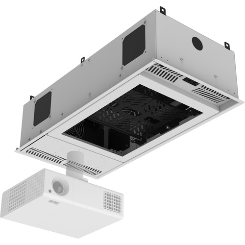 Atlas Sound 1x2 CeilingMount Rack/2R, 1/2Wide Ambitilt Shelf/Integrated Switched PWRPK with Projector Pole Mount