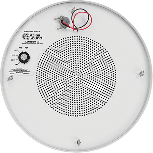"Atlas Sound 8"" Dual Cone Sound Masking Loudspeaker with 4W/70V Transformer and Round Enclosure (White)"