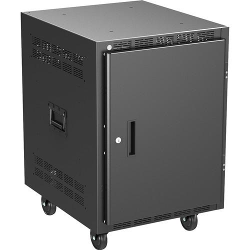"Atlas Sound 25"" Deep, 14-Rack Unit Mobile Equipment Rack with Casters, Side Handles, Solid Doors"