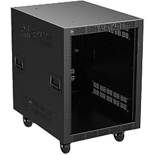 """Atlas Sound 30"""" Deep, 14-Rack Unit Mobile Equipment Rack with Casters, and Side Handles"""
