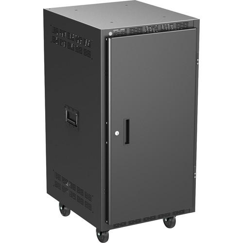 "Atlas Sound 25"" Deep, 21-Rack Unit  Mobile Equipment Rack Includes Casters, Side Handles, Solid Doors"