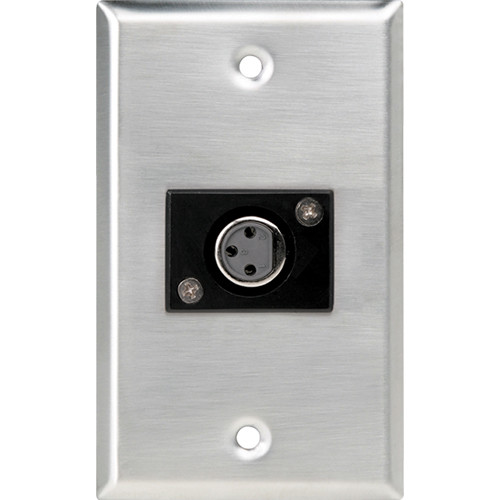 Atlas Sound Single-Gang Stainless Steel Wall Plate with Female 3-Pin XLR Connector