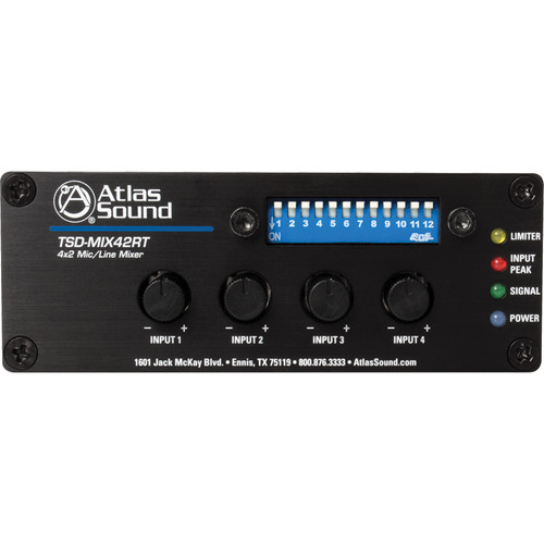 Atlas Sound TSD- MIX42RT 4x2 Mic/Line Mixer with Priority Sense