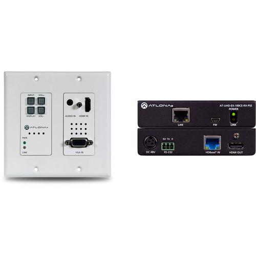 Atlona 4K HDMI/VGA over HDBaseT 2x1 Switch Wall Plate Extender Kit (328')