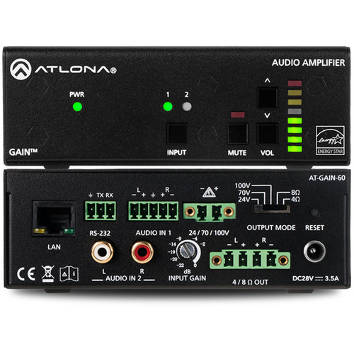 Atlona Gain 60 Stereo / Mono 60W Plenum-Rated Power Amplifier