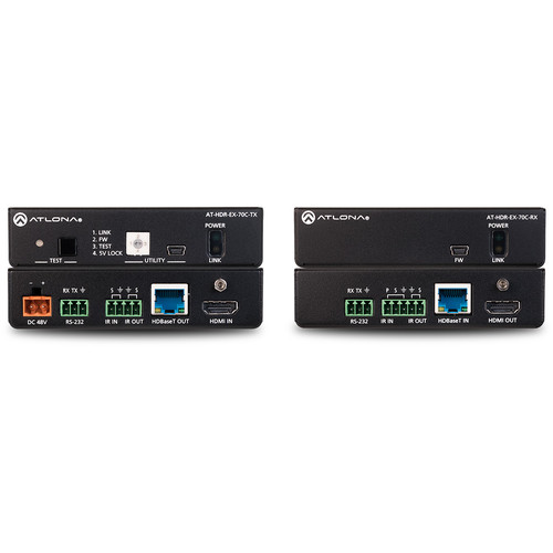 Atlona 4K HDR Transmitter and Receiver Set with IR, RS-232, and PoE