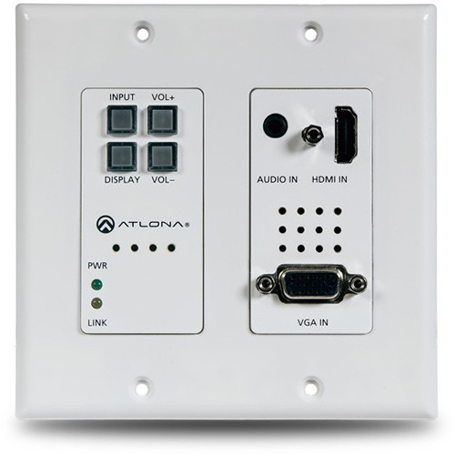 Atlona 2x1 HDMI & VGA Wall Plate Switcher with HDBaseT Ethernet Output