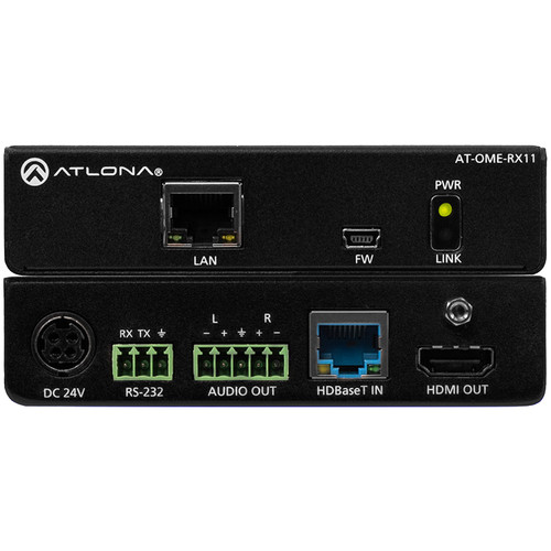 Atlona Omega 4K/UHD HDMI over HDBaseT Receiver with Control, Audio Output and PoE