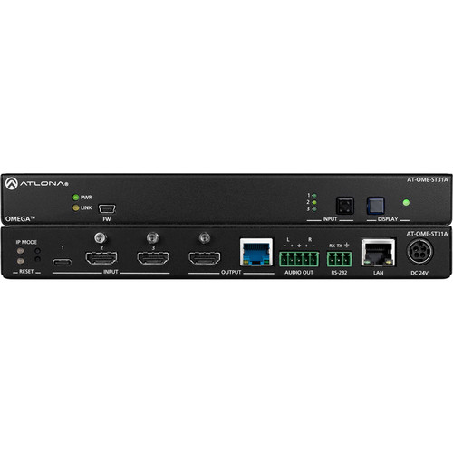 Atlona Omega 4K/UHD 3-Channel HDMI/USB-C Switcher and HDBaseT Transmitter with Audio De-Embedding
