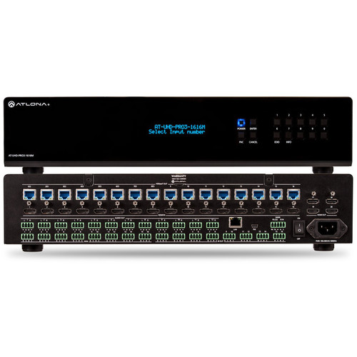 Atlona 4K/UHD Dual-Distance 16x16 HDMI to HDBaseT Matrix Switcher with PoE