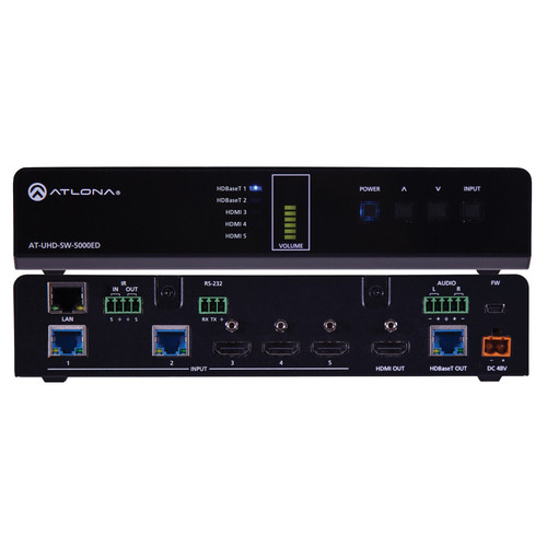 Atlona 4K/UHD 5-Input HDMI Switcher with Two HDBaseT In & Mirrored HDMI/HDBaseT Out