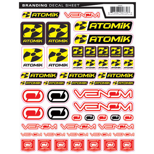 Atomik RC RC and Venom Branding Decal Sticker Sheet