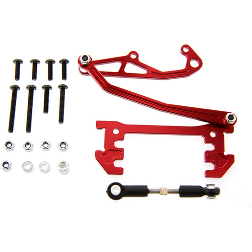 Atomik RC Aluminum Servo Mount with Panhead Bar for Axial SCX10 (Red)