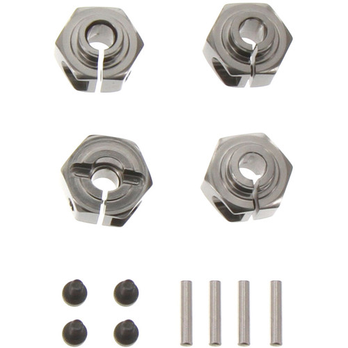 Atomik RC Aluminum Hex Hub for Axial Wraith/AX10/XR10 (12mm, Set of 4, Gray)