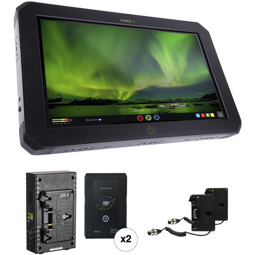 "Atomos Sumo 19"" HDR/High-Brightness Monitor Recorder Kit with 2 Gold Mount Batteries"