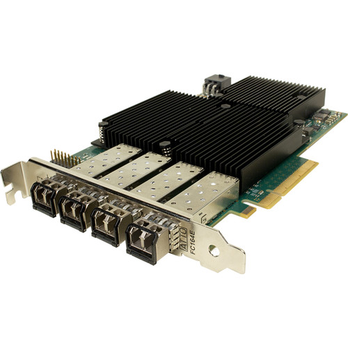 ATTO Technology Celerity Quad-Channel 16 Gb/s Fiber-Channel PCIe 3.0 Host Bus Adapter with 4 x SFF+ Transceivers