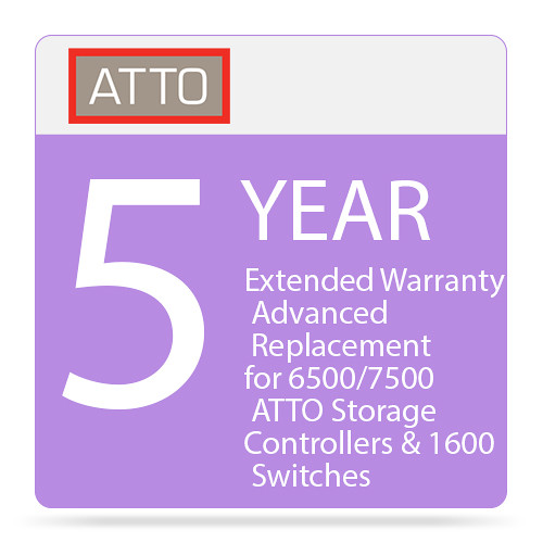 ATTO Technology 5-Year Extended Warranty with Advanced Replacement for 6500/7500 ATTO Storage Controllers & 1600 Switches