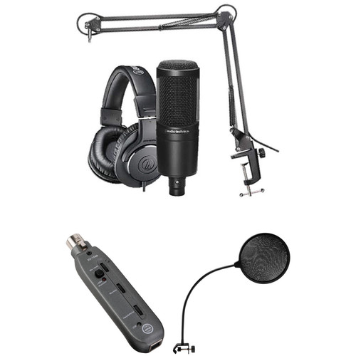 Audio-Technica AT2020 Studio Microphone Kit with Headphones, Boom, Cables, Pop Filter & XLR to USB Interface