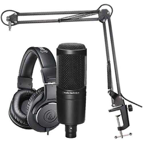 Audio Technica AT2035PK Studio Mic Recording Package-Microphone+Headphones+Boom