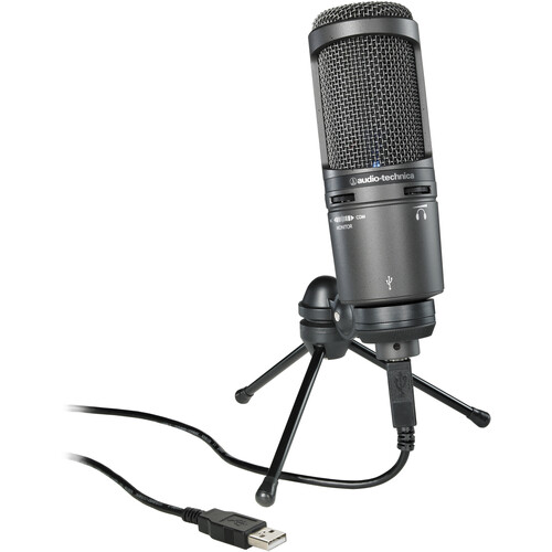 Audio-Technica AT2020USB+ USB Microphone Kit with Headphones, Stand, Clamp, and Pop-Filter