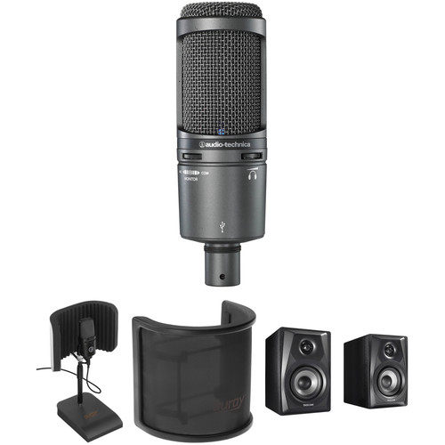 Audio-Technica AT2020USB+ USB Microphone Kit with Reflection Filter/Stand, Pop Screen, and Studio Monitors