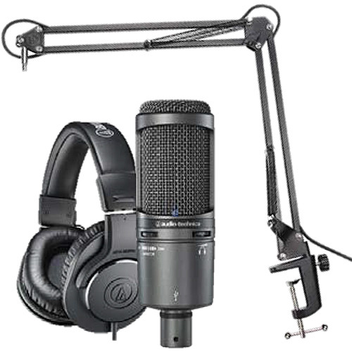 Audio-Technica AT2020USB+ Microphone Pack with ATH-M20x, Boom & USB Cable
