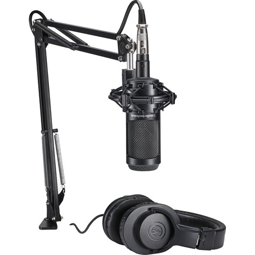 Audio-Technica AT2035 Studio Microphone Pack with ATH-M20x and Boom Arm