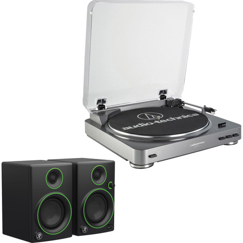 Audio-Technica Consumer AT-LP60USB Fully Automatic Belt-Drive Turntable (Silver) and Powered Speakers Kit