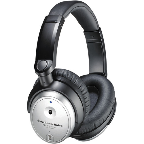 Audio-Technica Consumer ATH-ANC7b-SVIS QuietPoint Active Noise-Cancelling Closed-Back Headphones (Silver)