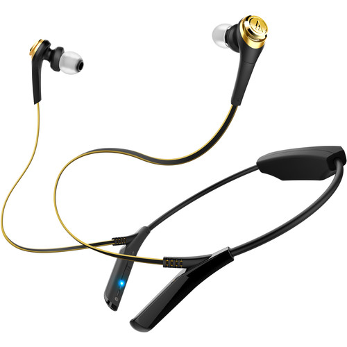 Audio-Technica Consumer ATH-CKS550BT Solid Bass Wireless In-Ear Headphones (Black/Gold)