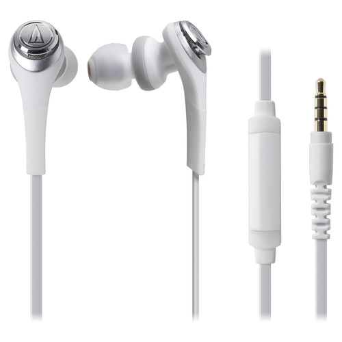 Audio-Technica Consumer ATH-CKS550iS Solid Bass In-Ear Headphones with In-Line Mic & Control (White)