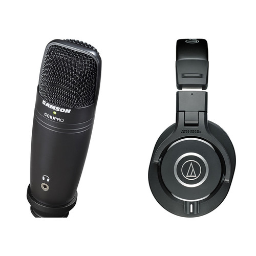 Audio-Technica ATH-M40X Monitor Headphones and C01U USB Microphone Kit (Black)