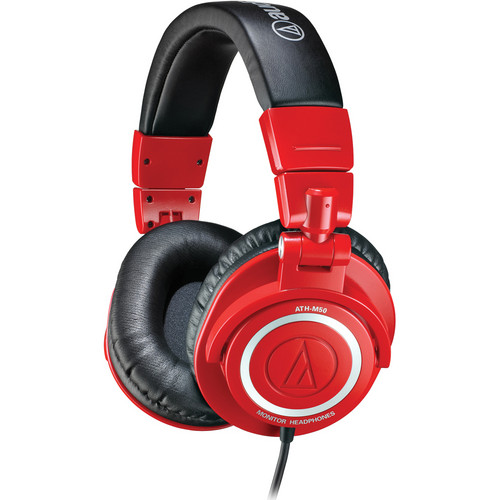 Audio-Technica ATH-M50 Professional Closed-Back Studio Headphones with a Coiled Cable (Red)