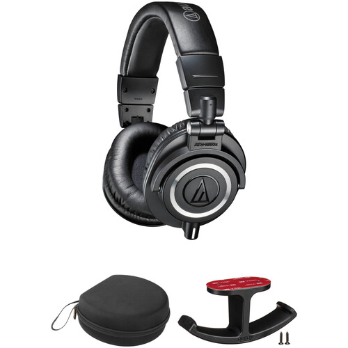 Audio-Technica ATH-M50x Headphones, Case, and Hanger Mount Kit (Black)