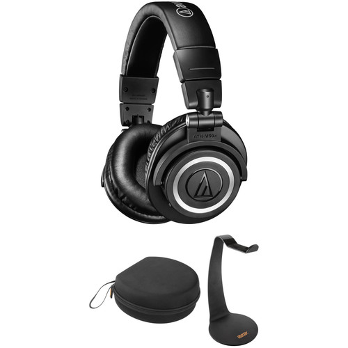 Audio-Technica ATH-M50xBT Wireless Over-Ear Headphones with Case & Desk Stand Kit