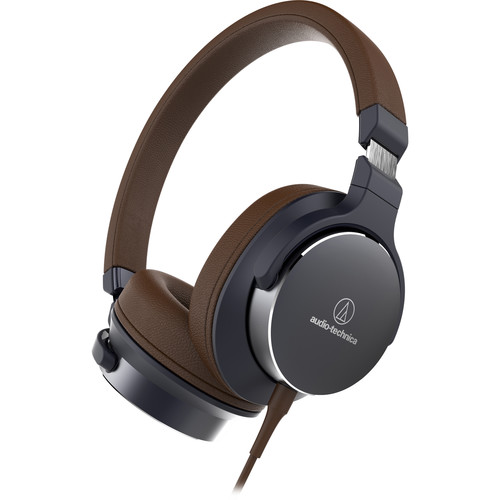 Audio-Technica Consumer ATH-SR5BK On-Ear High-Resolution Audio Headphones (Navy/Brown)