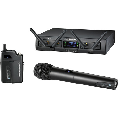 Audio-Technica ATW-1312 System 10 PRO Dual-Channel Digital Wireless Combo Bodypack & Handheld Microphone System, No Lav (2.4 GHz)