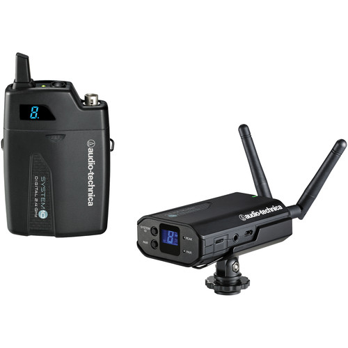 Audio-Technica ATW-1701 System 10 Digital Camera-Mount Wireless Lavalier Microphone System with No Mic (2.4 GHz)